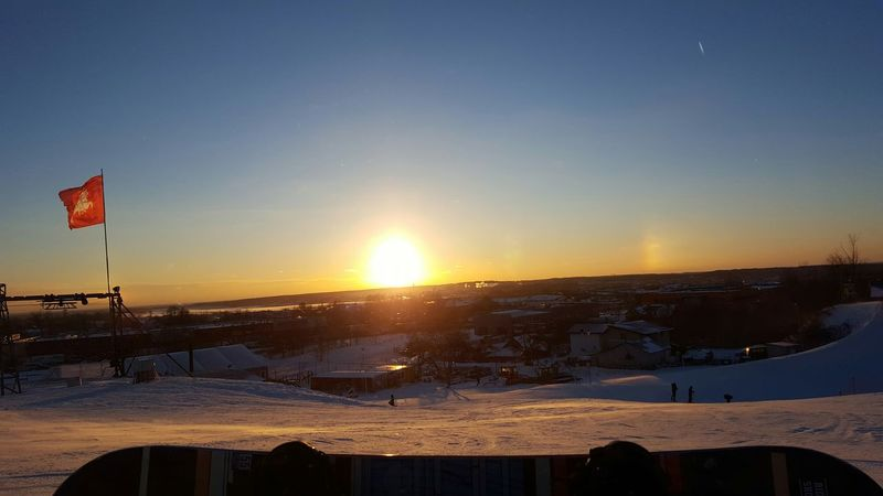 Cold Temperature Day Flag Outdoors Patriotism Sky Snow Sun Dog Sunset Water Snowboard Moments Cold Winter ❄⛄ 🏂beautiful View Evening Sky Evening Color