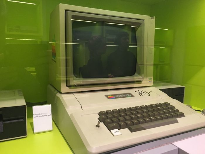 apple II Women's Reflection Computer History Exhibition Apple II Technology Green Color Indoors  Glass - Material Transparent Window Reflection Computer Retro Styled Computer Equipment
