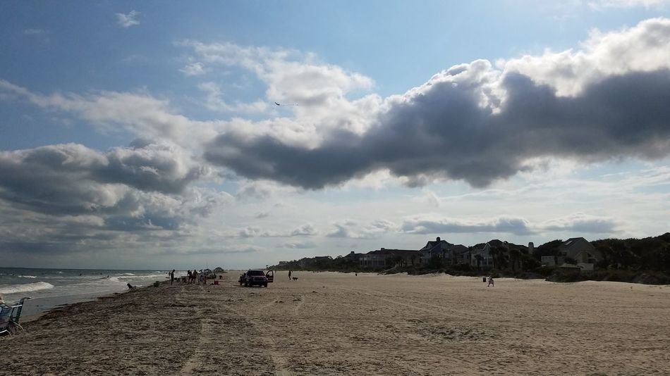 Beach Afternoon Clouds. Ocean Sand Sea Sky Cloud - Sky Landscape Beauty In Nature Horizon Over Water Atlantic Ocean Hilton Head Hilton Head Island SC Color Photography Beautiful Shoreline Summer Sun Chairs Water Sunlight Scenics Outdoors