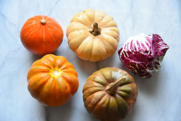 High angle view of pumpkins against orange background