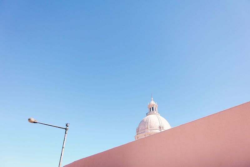 Low Angle View Of Church Of Santa Engracia Against Clear Blue Sky