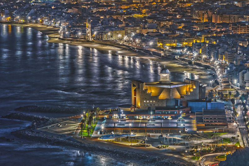 High Angle View Of Illuminated Buildings In Gran Canaria At Night
