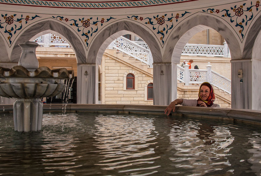 Manavgat, Mosche Kultort Waschungsbrunnen Arch Architecture Built Structure Day Indoors  Islam Mosche Moscheee One Person People Real People Religion Spirituality Water