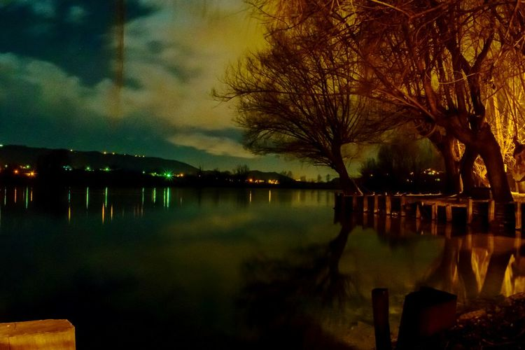 Fibreno Posta Shadows & Lights Reflection Water Tree Nature Sky Lake Outdoors Night No People Sunset Beauty In Nature Illuminated Reflection Lake