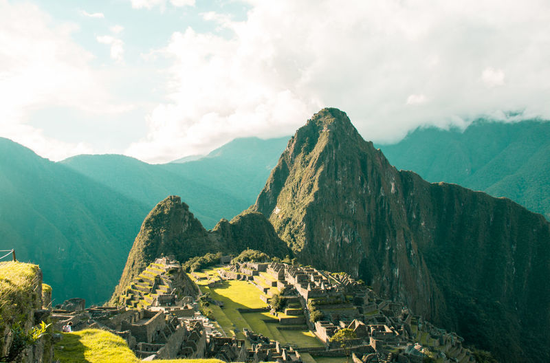 High angle view of machu picchu during sunny day