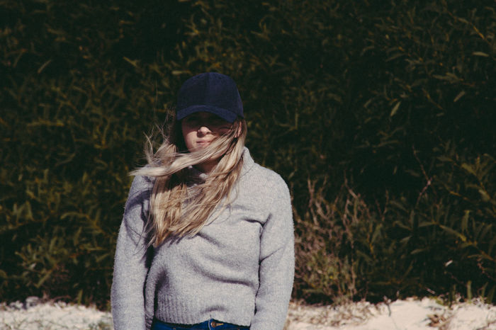 Good times with a great girl. Beach Photography Hat Retro Adult Blond Hair Day Girl Good Vibes Leaves Long Hair Looking At Camera Model Nature One Person Outdoors People Portrait Pretty Girl Real People Standing Summer Sweater Warm Clothing Young Adult Young Women The Portraitist - 2018 EyeEm Awards