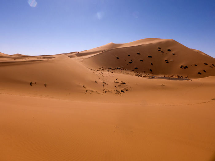 The Sahara Desert at its best. Fascinating desert landscape in the south of Morocco Erg Chebbi Morocco Sahara Land Sand Sand Dune Desert Climate Arid Climate Scenics - Nature Landscape Africa Pattern Merzouga Tranquil Scene Physical Geography Atmospheric Tranquility Non-urban Scene No People Beauty In Nature Environment Nature Clear Sky