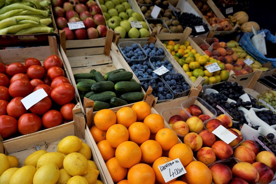 Colourful healthy fruits in the marketplace. Agriculture Bazaar Freshness Mangoes Market Apples Asian Fruits Berry Fruit Colourful Fruits Fruits Grocery Healthy Lemon Market Stall Organic Food Sell Selling Stall Tomato Tropical Climate Vegetables Vitamin