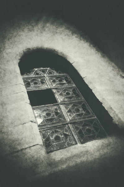 Dramatically looking church window Church Window Abandoned Arch Architecture Auto Post Production Filter Building Built Structure Close-up Design Dramatically Indoors  Low Angle View Nature Night No People Old Pattern Shape Wall - Building Feature Window