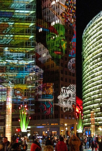 Colorful Buildings The Week On EyeEm Architecture Building Exterior Built Structure Choice City Crowd Discover Berlin Illuminated Large Group Of People Light Projections Men Modern Art Multi Colored Neon Night Outdoors People Real People Women