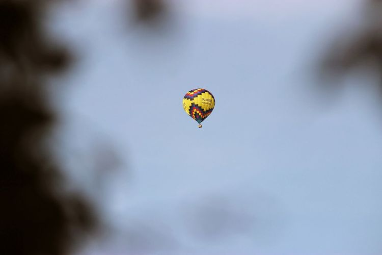 Low Angle View Of Parachuting Against Clear Sky