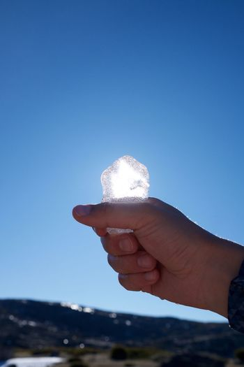 Cropped hand holding ice against clear blue sky