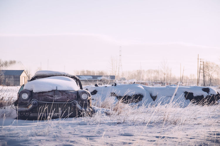 Broken Cars Cold Temperature Junkyard No People Old Car Outdoors Rural Scene Snow Sunrise Winter