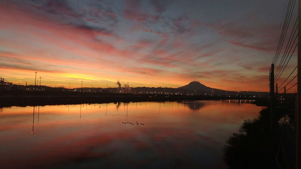 Sunrise Beauty In Nature Nature Mtrainer Mountain Reflection Sillhouette Skyporn Pugetsound Relaxing Moments Puyallup River Cloud Porn Tranquility Tacoma_WA Scenics Tacoma_WA Cloudsandsky Mt. Rainier Cloudsporn Cloudsandsky Colors