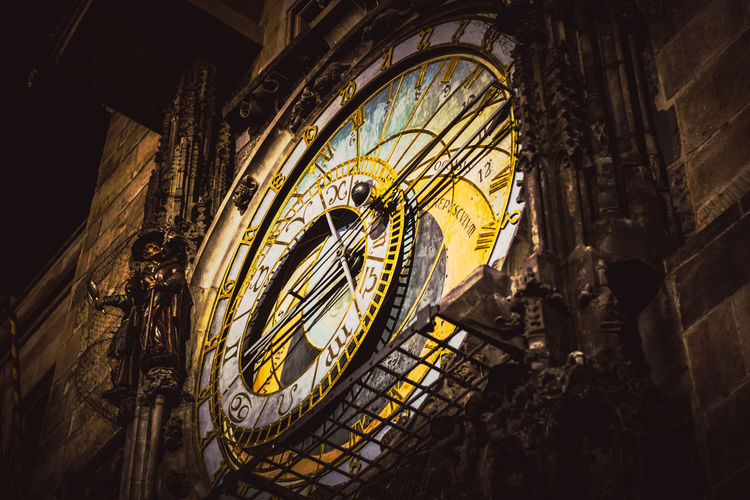 Low angle view of astronomical clock