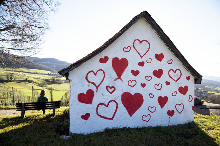 House of hearts Day Freiburg Germany Grass Heart Heart House House Landscape Lifestyles Lonley Girl Love Mountain Nature Outdoors Red Red Remote Scenics Sky Tranquil Scene Tranquility Unloved
