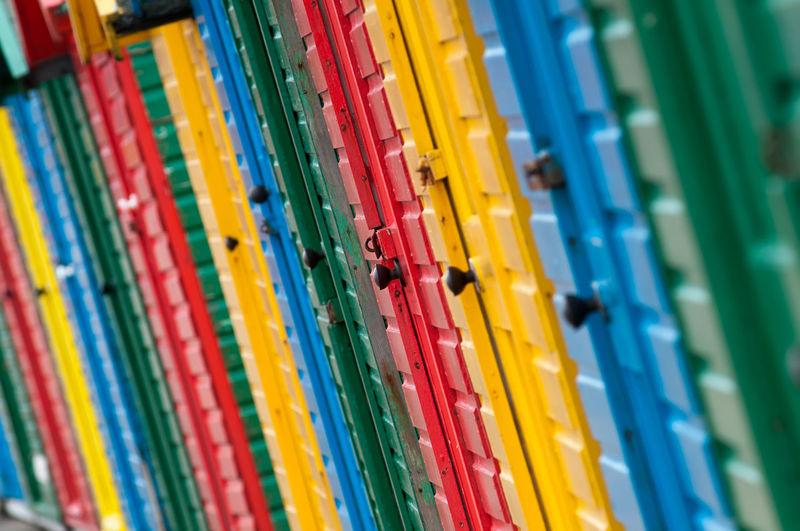 Full Frame Shot Of Colorful Beach Hut