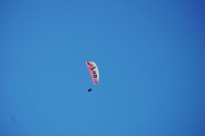 Paragliding Extreme Sports Blue Mid-air Day Parachute One Person Paragliding