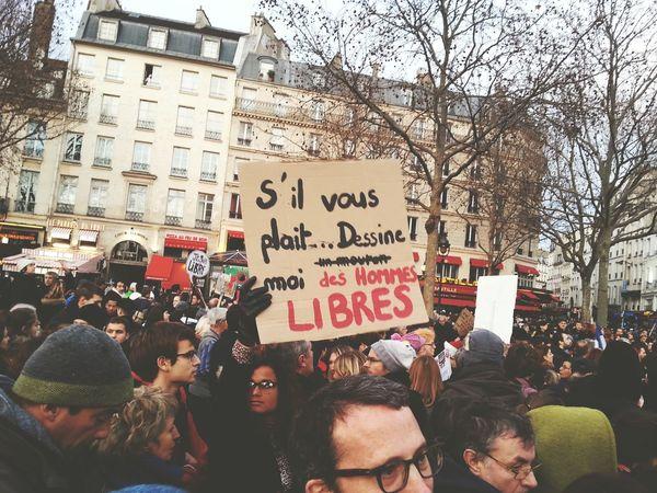 Bastille Charliehebdo Manifestation Bastille Homme Libre Liberté D'expression