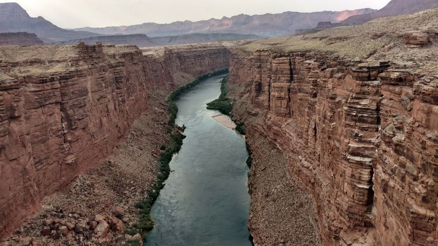 High angle view of colorado river amidst mountain at grand canyon national park