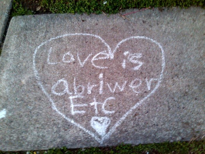 my little neighbor's did this for me and my Boyfriend <3 (/.^)/