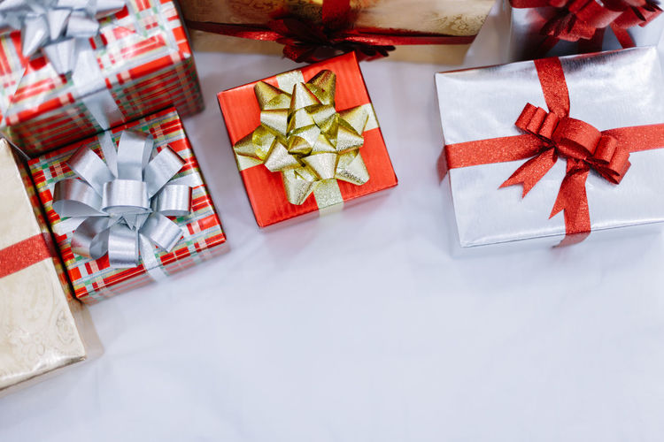 Close-Up Of Christmas Presents On Table