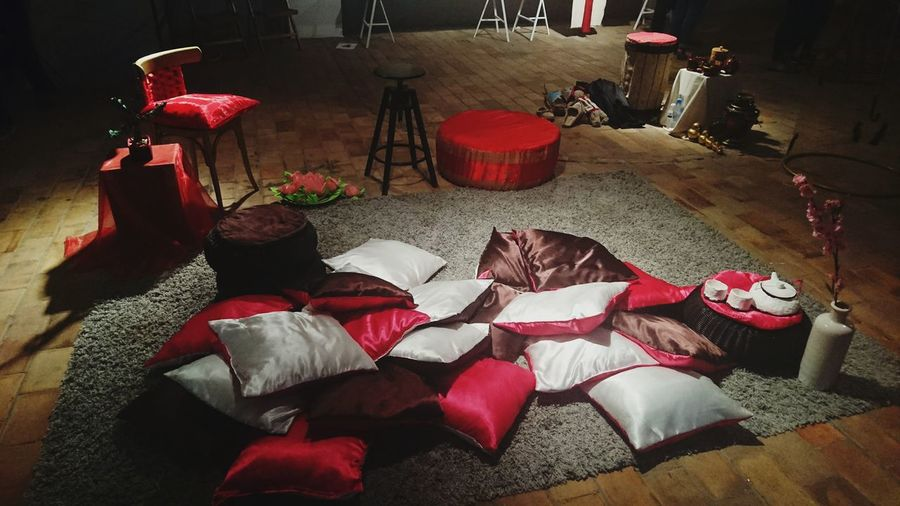 Creative event of fashion students Romantic Place Pillows Red Atmosphere Cozy Place Creative Design Creative People ArtWork Art Installation Chair Carpet Pillows And Blankets Romantic Mood Romance Romantic Color Romantic Collection Wooden Floor Red Pillow Bar Chair Sony Xperia Z5 Compact Mobilephotography This Week On Eyeem Phoneography