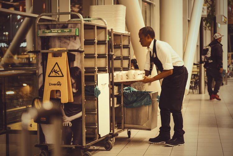 Airport Indoors  Men People Real People Restaurant Service Work Working