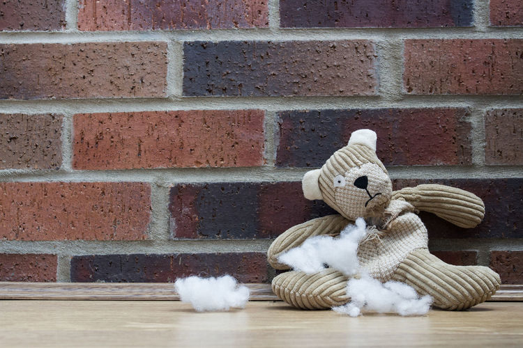Damaged Teddy Bear Against Brick Wall