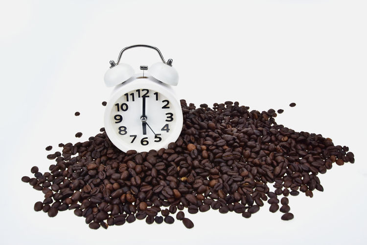 Brown Beverage Mocha Brown Clock Close-up Coffee Coffee - Drink Food And Drink Freshness Indoors  Roasted Coffee Bean Still Life
