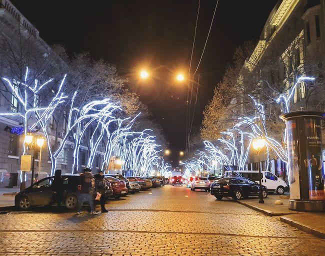 Night Car Illuminated Land Vehicle Mode Of Transport City Outdoors