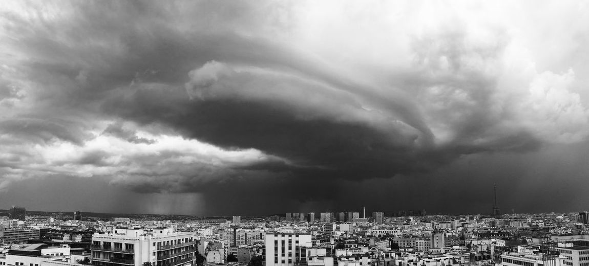 Architecture Black And White Building Exterior Built Structure City Cityscape Cloud - Sky Day No People Outdoors Panoramic Paris Residential Building Sky Storm Cloud Storme Thunderstorm Tour Eiffel Black And White Weather Breathing Space