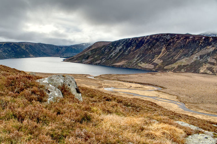 Isolated Remote Tranquility Peaceful EyeEm Best Shots Landscape Scottish Highlands Scotland 💕 Loch  Loch Muick Cairngorms Scottish Highlands Mountain Water Galaxy Rock - Object Sky