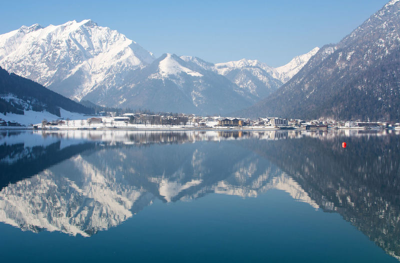 Winter Beauty Sky Blue Sky Clouds Lake View Landscape Mountain No People Snow Waterfront