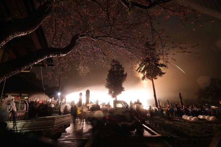 Panoramic shot of illuminated city at night