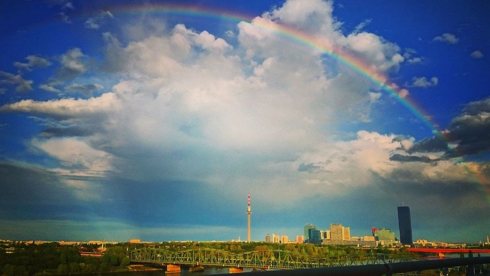 Rainbow in Vienna Rainbows Rainbow Sky Rainbow🌈 Rainbow Bridge Clouds And Sky Clouds Donauturm Donau Danube Danuberiver Taking Photos Sunday Weekend Relaxing Enjoying Life