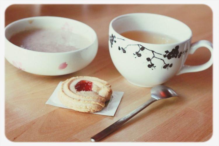 Dessert: banana smoothie, cookie, and tea. Japanese  Banana Smoothie Cookie Tea