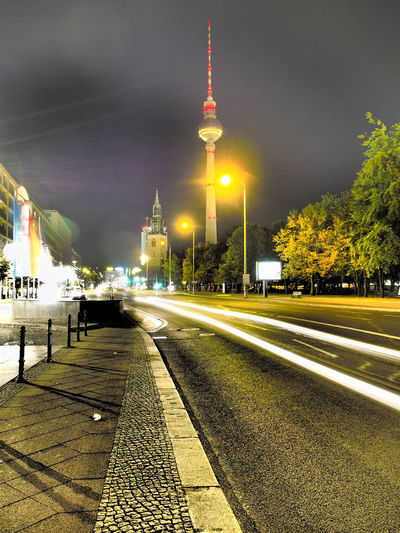 Fernsehturm Against Sky In City At Night