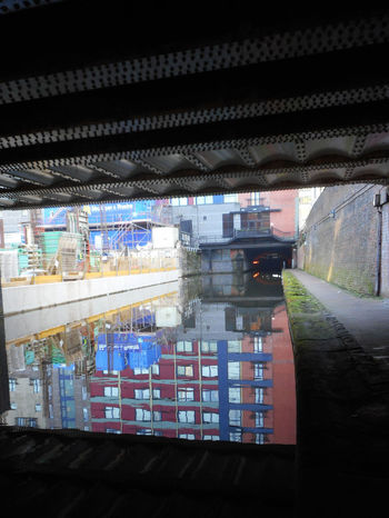 Manchester canal, UK. Architecture Bridge Building Building Exterior Building Site Built Structure Canal Walks City Development Manchester Canal Modern Reflections In The Water Urban