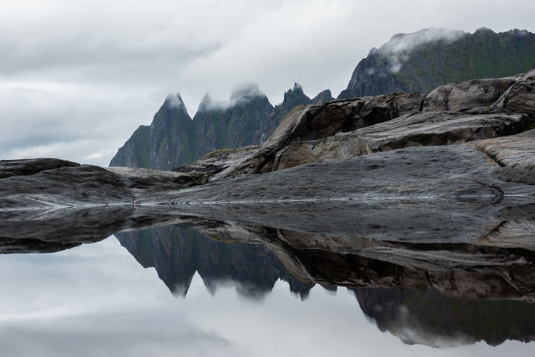 senja in summer Mountain Water Sky Beauty In Nature Reflection Nature Environment No People Landscape Rock Day