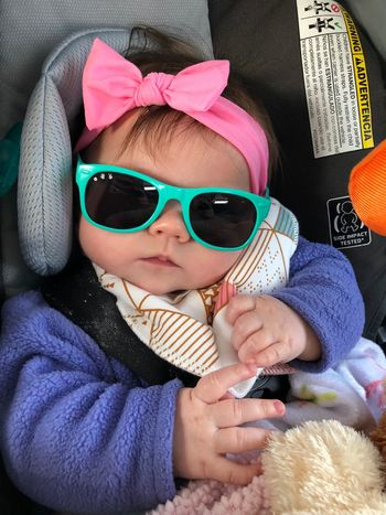 All ready to go! No Edit, No Filter, Just Photography Baby Model Day Time Photography Going For A Ride  Baby Girl Stylin Sun Glasses :) Head Bands Are Like A Girls Best Friend. Car Rides! Warm And Cosy EyeEm Selects Sunglasses Real People Childhood One Person Leisure Activity Lifestyles Warm Clothing