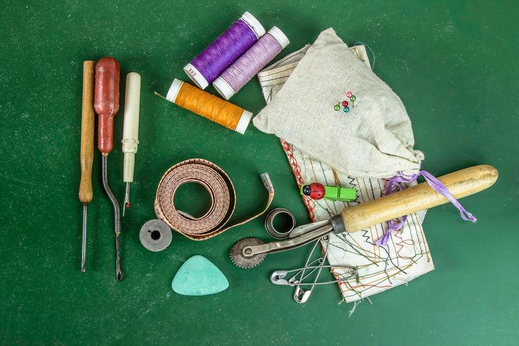 High angle view of tools on table