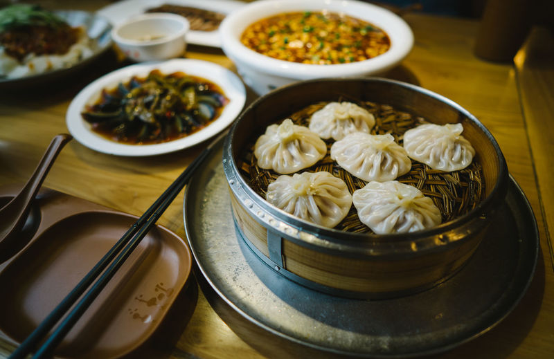High Angle View Of Dumplings In Bowl On Table