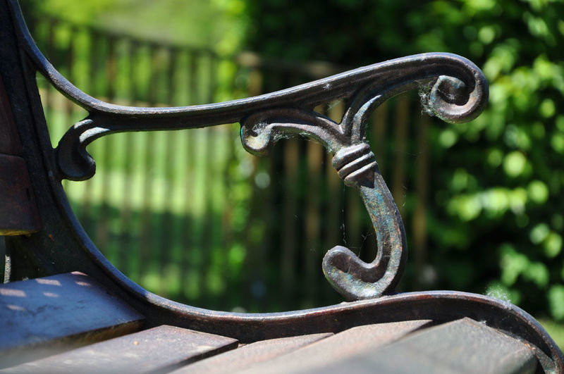 Close-up of rusty bench