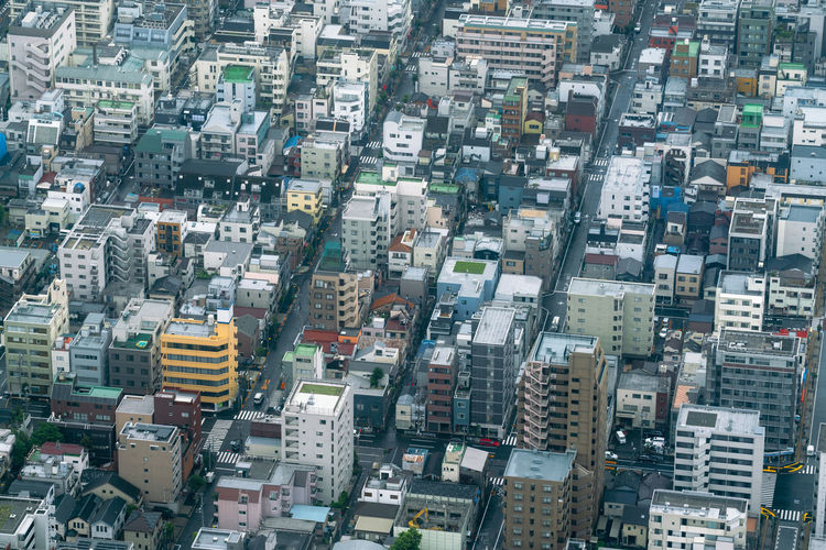 Aerial city view of densely built neighbourhood in Tokyo, Japan Streets Japan Tokyo Architecture Aerial High Angle View No Logos No Trademarks City Backgrounds Full Frame Aerial View Cityscape Building Exterior Skyline Urban Skyline Infrastructure Settlement Building Residential  Crowded