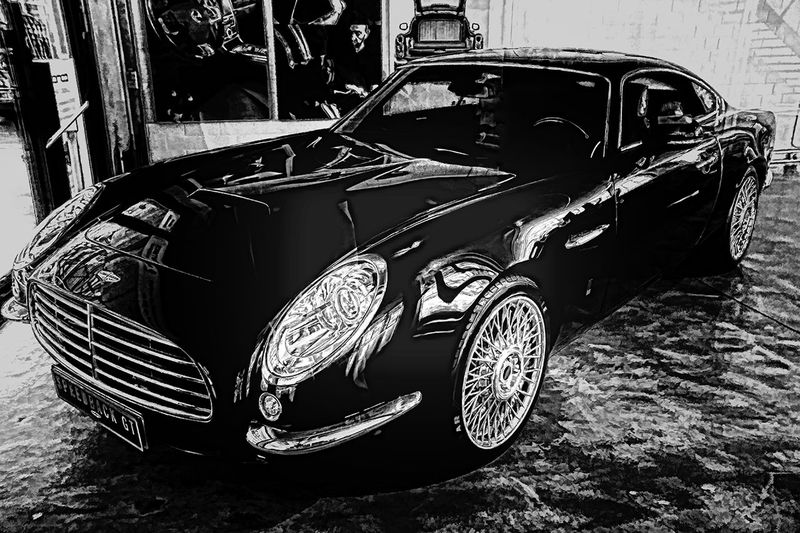 Auto Black Coupè Day Focus On Foreground HDR Mode Of Transport Outdoors Parked Parking Speedback Sportwagen