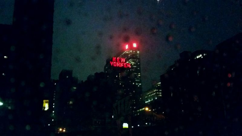 Always Be Cozy New York City Night Illuminated No People Outdoors Sky Nature Architecture Red Light New Yorker Hotel Rain On Window Inside A Car Cozy Inside Stories From The City