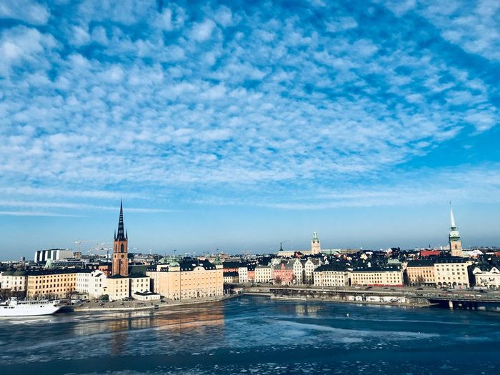 ShotOnIphone Stockholm Sweden Panoramic View Landscape_Collection Landscape Landscape_photography Water Building Exterior Sky Architecture Built Structure Cloud - Sky Sea Day Nautical Vessel City Tower Blue Transportation Waterfront Building No People Outdoors Nature Travel