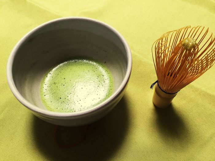 Close-Up Of Green Tea In Bowl