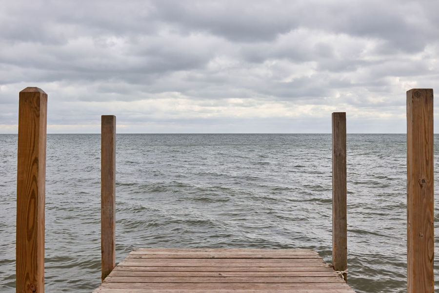 Calm Cloudy Dock Horizon Over Water Lake Nature Ocean Outdoors Perspective Senic Stormy